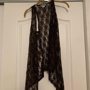 PINK Cattlelac Brown Lace Vest - Size M